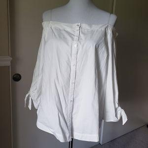 Lush Off The Shoulder Button Down Shirt
